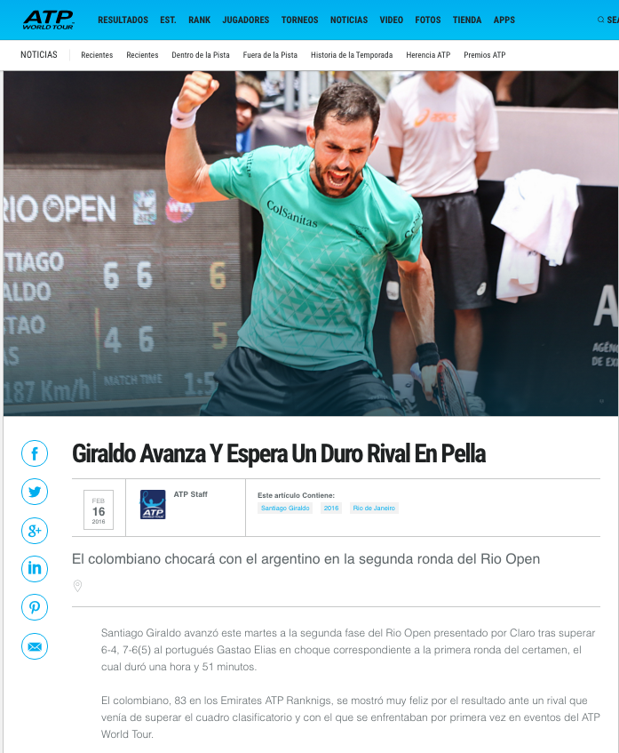 ATP Tennis Giraldo Avanza and expects tough opponent in Pella