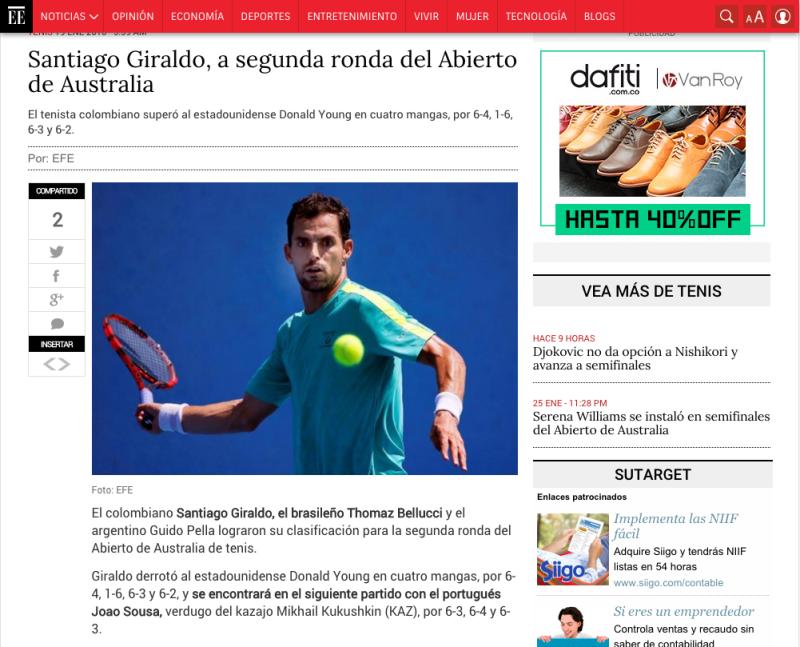 Santiago Giraldo Australian Open El Espectador Colombia Tenis