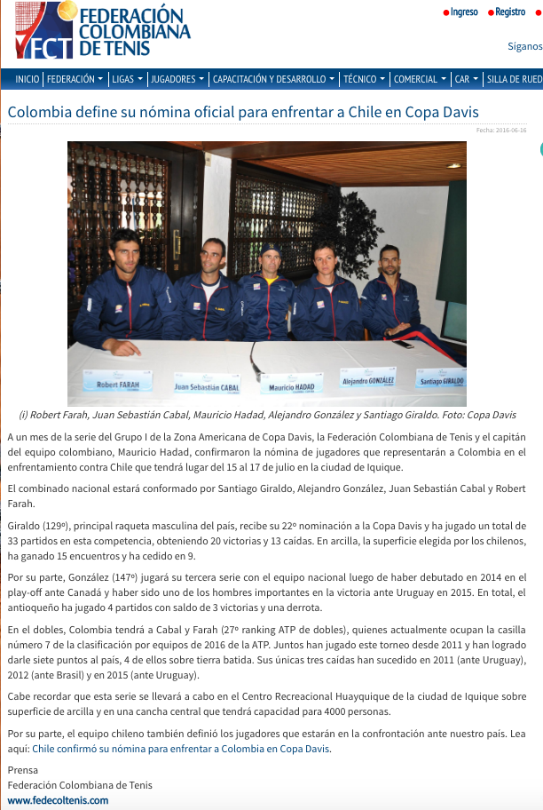 Copa Davis 2016, tenis, colombia , santi giraldo