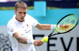 LONDON, ENGLAND - JUNE 17: Alexander Bublik of Kazakhstan plays a backhand during his mens singles first round match against Diego Schwartzman of Argentina during day one of the Fever-Tree Championships at Queens Club on June 17, 2019 in London, United Kingdom. (Photo by Alex Pantling/Getty Images)