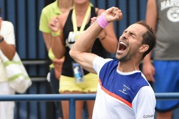 August 23, 2019 - Santiago Giraldo reacts after defeating Mirza Basic at the 2019 US Open. (Photo by Mike Lawrence/USTA)